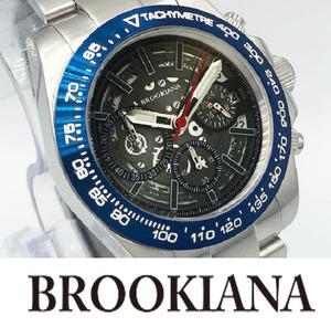 【1円】新品正規品ブルッキアーナBROOKIANAクォーツギミックローター搭載10気圧防水ダイバー男性用メンズ腕時計ブルー青×シルバー銀ギフト