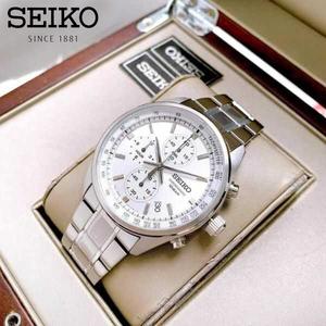 【1円】【日本未発売SEIKO】SEIKO セイコー クロノグラフ メンズ 腕時計 タキメーター ステンレスベルト 100m防水 ホワイト 白 ギフト
