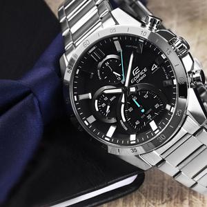【1円】新品正規CASIOカシオEDIFICEエディフィス男性メンズ腕時計アナログクオーツミネラルガラス100m防水クロノグラフブラックシルバー