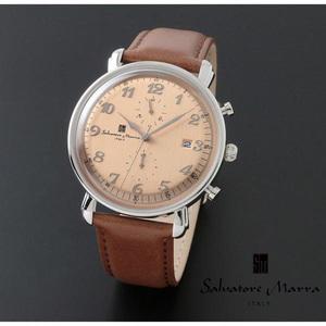 【1円】新品正規品サルバトーレマーラSalvatore Marraクォーツメンズ男性ビジネス腕時計ギフトプレゼントアンティーククロノグラフクリーム