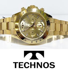 【即決】【高級セームプレゼント】【新品正規品】[テクノス]TECHNOSクロノグラフ金ダイバー腕時計ギフトゴールド100m防水ダイバー贈り物
