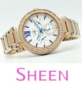 【1円】【新品正規品】CASIOカシオSHEENシーン金ゴールド×白ホワイト青ブルー女性ダイヤczレディース腕時計ギフトとけいプレゼント贈り物