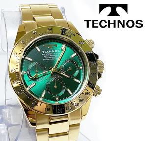 【即決】【高級セームプレゼント】新品正規品[テクノス]TECHNOSクロノグラフ金メンズ男性ダイバー腕時計ギフト緑100m防水ダイバー紳士
