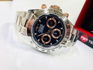【1円】【新品正規品】[テクノス]TECHNOS腕時ネイビー×ゴールド紺金クロノグラフメンズ男性用腕時計うでどけいプレゼント