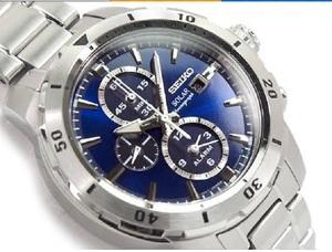 【1円】新品正規SEIKOセイコーメンズ本格派ソーラーカレンダー付アラームクロノグラフデュアルタイムダイバー腕時計ブルー青ギフトとけい