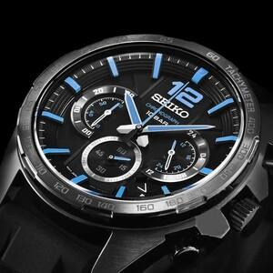 【即決】【高級セームプレゼント】正規品日本未発売セイコーSEIKO10気圧100m防水ダイバーズブルー青クロノグラフ腕時計ビジネス黒