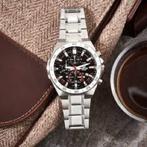 【1円】【新品正規品】カシオCASIOエディフィスEDIFICE10気圧防水ダイバークロノグラフ腕時計ブラック×シルバー男性用とけいプレゼント