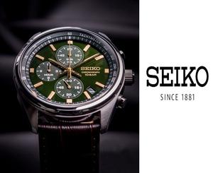 【1円】【日本未発売SEIKO】SEIKO セイコー クロノグラフ メンズ 腕時計 タキメーター ブラウン革レザーベルト 100m防水 グリーン緑 ギフト