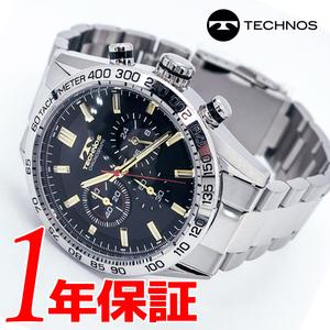 【人気モデル】【新品正規品】TECHNOSテクノスメンズ腕時計アナログウォッチクォーツブラックシルバークロノグラフシンプルベーシック