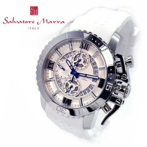 【送料無料 高級セーム付】新品正規サルバトーレマーラSalvatore Marraメンズ腕時計ホワイトシルバーイチオシ人気ラバープレゼントギフト
