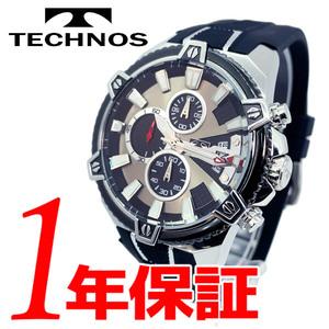 1円新品正規品テクノスTECHNOSメンズ腕時計男性10気圧防水多針アナログクリスタルガラスステンレスラバーベルトシルバーブラックゴールド