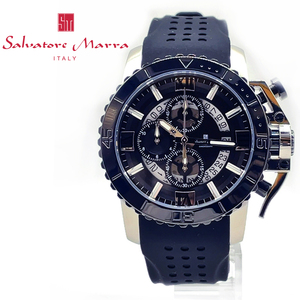 【送料無料 高級セーム付】【新品正規品】サルバトーレマーラSalvatore Marra腕時計クロノグラフブラックおすすめラバープレゼントギフト