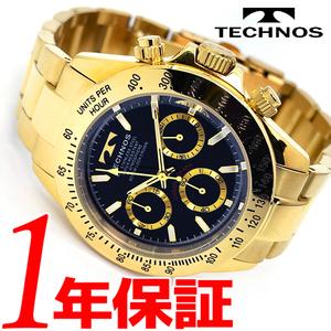 1円新品正規品テクノスTECHNOS男性メンズ腕時計日本製クオーツアナログステンレスゴールド金文字盤ブラック三つ折れ10気圧防水ブレスレット