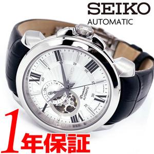 【1円】【新品正規品】SEIKOPREMIERメンズ腕時計自動巻きホワイトシルバーブラックオープンハートパワーリザーブレザーベルト100m防水