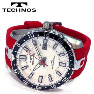 1円新品正規品[テクノス]TECHNOSメンズ腕時計クロノグラフキャンプ保証書専用BOX付きジャパンムーブメントアナログ日本製レッドホワイト