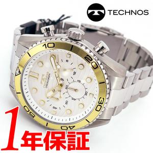 送料無料高級セーム付人気モデルTECHNOSメンズ腕時計アナログ日本製クォーツクロノグラフストップウォッチホワイトゴールドファッション