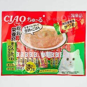 新品 目玉 (CIAO) チャオ 2-YW (x 40) 猫用おやつ ちゅ~る40本入り 総合栄養食 まぐろ・かつおバラエティ 猫用 14グラム