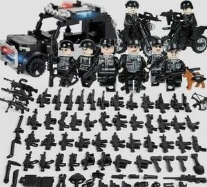 警察8体 車両武器つきセット 戦争軍人軍隊マンミニフィグ LEGO 互換 ブロック ミニフィギュア レゴ 互換t22