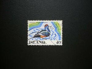 アイスランド発行 シノリガモなど水の保全切手 1種完 NH 使用済
