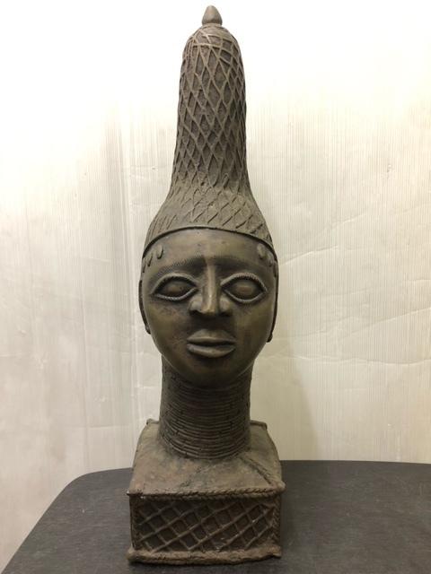 珍品 アフリカ ベニン王国 ブロンズ像 ベニンブロンズ 激レア イディア像 アンティーク 骨董品 希少品 美術品 名品 1点もの オブジェ