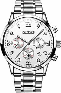 白 RORIOS腕時計メンズ アナログクォーツウォッチ 多機能ストップウォッチ 日付表示/夜光機能/クロノグラフ 男性腕時計 ビ