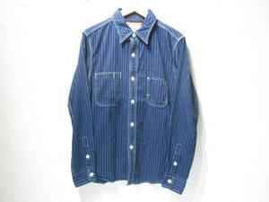 美品 UES ワークシャツ ウォバッシュ ストライプ サイズ3 ウエス ヒッコリー UNIONMADE アメカジ 日本製