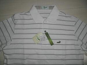 新品クロコダイル 日本製長袖ポロシャツ Lサイズ ホワイトボーダー 綿97% 左胸にポケット