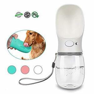 ホワイト 350ml DKPlus ペットウォーターボトル 給水器 犬猫など 多種ペット携帯用水飲みボトル 水槽付き 水漏れ防止