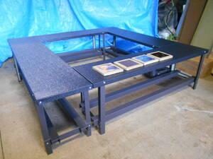 いろりテーブル 長テーブル 4台セット エンボスブラック 折畳み 80cmテーブルに組替 焚火テーブル クリップ接続 ガルバ鋼材 自作