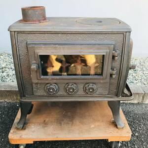 鋳物製 薪ストーブ アンティーク 暖炉 レトロ【現状品/らくらく家財便Aランク】