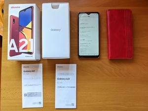 ■【短期使用】・SIMフリー化済み DOCOMO SAMSUNG Galaxy A21 SC-42A 赤