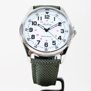 同梱可能 シチズン ファルコン 腕時計 日本製ムーブメント ナイロン/革ベルト オリーブ/白 QB38-304 メンズ 紳士