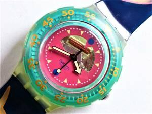 未使用 スウォッチ Swatch 初期スクーバ ハッピーフィッシュ HAPPY FISH SDN101 電池交換済稼働中