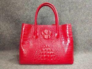 ワニ革 クロコダイルレザー 多機能 最高級本革保証  ビジネスバッグ 本革 鞄 レディースバッグ トートバッグ レッド