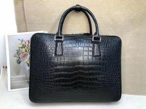 ワニ革 クロコダイルレザー 全腹部 大容量 ビジネスバッグ 本革 ブラック 鞄 メンズバッグ ブリーフバッグ 黒