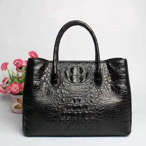ワニ革 クロコダイルレザー !多機能 最高級本革保証 ビジネスバッグ 本革 鞄 レディースバッグ トートバッグ 黒