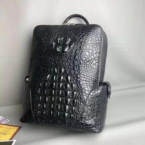 金運UP クロコダイル ワニ革 本革保証 メンズ リュック リュックサック 鞄 デイパック 大容量 アウトドア 通勤用 バッグ メンズバッグ 黒
