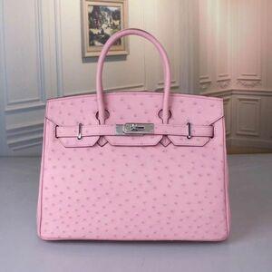 オーストリッチ ダチョウ革 鑑定大歓迎 ハンドバッグ トートバッグ かばん レディース鞄 シルバー金具 職人手作 レディースバッグ ピンク