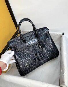 クロコダイル ワニ革 レディース鞄 ハンドバッグ トートバッグ かばん 鞄 手提げ 職人手作 バッグ 黒 シルバー金具