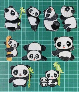 アイロンワッペン9枚セット パンダ ワッペン 刺繍ワッペン