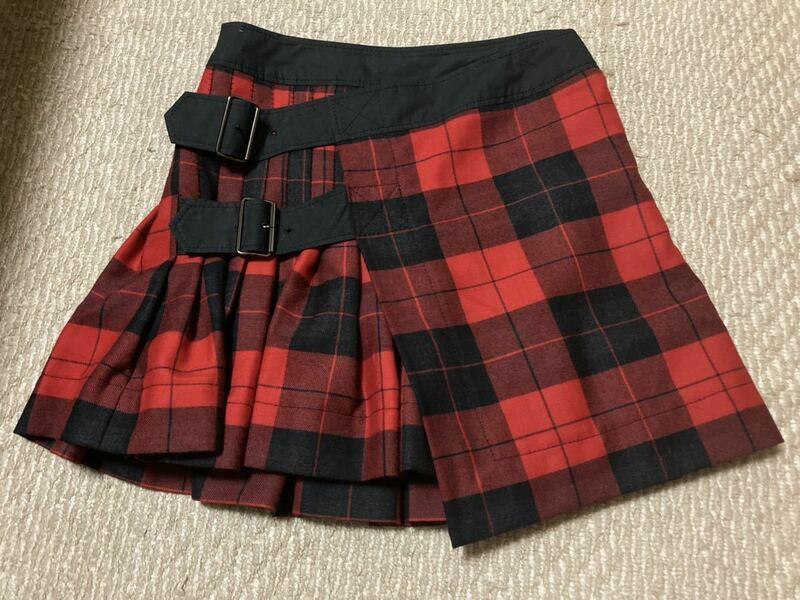 ヴィヴィアンウエストウッド 赤チェックプリーツ巻きミニスカート美品