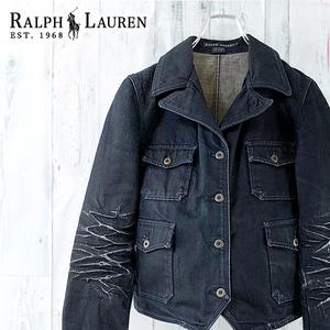 RALPH LAUREN デニム ジャケット Gジャン ダメージ 加工 オープンカラー 開襟 テーラード ブレザー 紺 インディゴ 綿 ラルフローレン M 9号