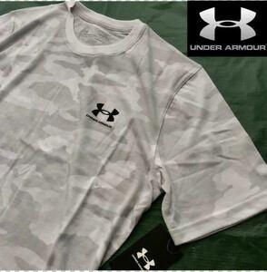 ♯正規品 新品【メンズL】 ホワイトグレー アンダーアーマー UNDER ARMOUR UA 新品 吸汗速乾 快適 半袖 Tシャツ 迷彩 カモフラ