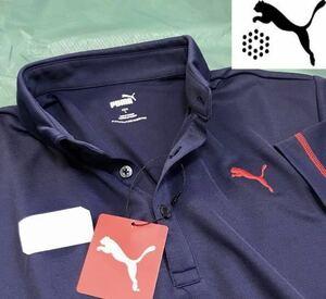 ◎新品【メンズXL(O)】ネイビー【PUMA GOLF】プーマゴルフ左胸刺繍ロゴ吸汗速乾半袖ポロシャツ 匿名配送