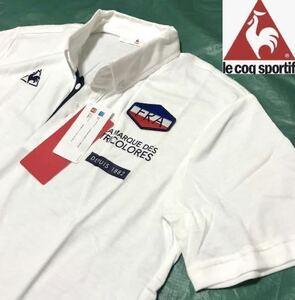 ●新品【L 白ホワイト】le coq ルコック 天竺素材 半袖ポロシャツ トリコロールロゴ ゴルフトレーニング ポロシャツ