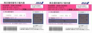 ANA 株主優待 株主優待番号ご案内書(2枚) 期限:2021.11.30(延長品) 【コード通知専用】 搭乗割引/株主優待券/全日本空輸/全日空