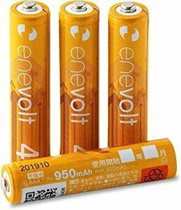 950mAh 4本 enevolt(エネボルト) 単4形充電池 950mAh ニッケル水素充電池 単4 充電池 使用開始記入欄