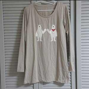 クマ プリント 長袖 ロングTシャツ レディース LLサイズ XLサイズ
