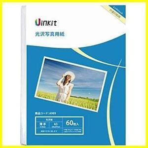 ★サイズ:A3x60★ 光沢紙 a3 写真用紙 インクジェット用紙 60枚入 0.18mm 薄手 Uinkit (A3x60)