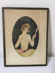 フランス アンティークフレーム付き肖像画